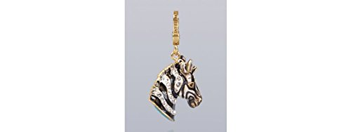 Jay Strongwater New Collection, Bruce Zebra Natural Charm, 18k Gold Plated, Swarovski Crystals Charm