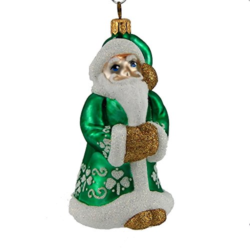 Mattarusky Irish Santa Glittered Glass Ornament