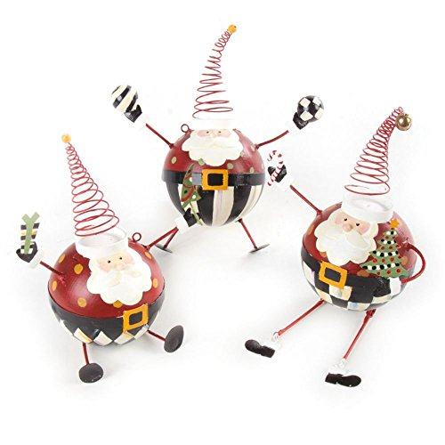 MacKenzie-Childs Santa Ornaments – Set of 3