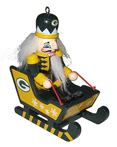 NFL 2014 Team Logo Wooden Nutcracker in Sleigh Ornament (Green Bay Packers)