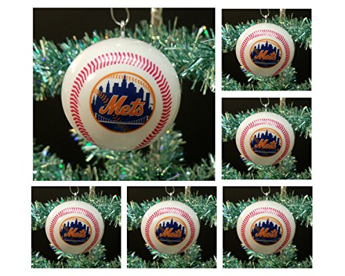 MLB Major League Baseball New York Mets Set of 6 Holiday Christmas Tree Ornaments Featuring Mets Team Baseball Ornaments Ranging from 2″ to 2.5″ Tall