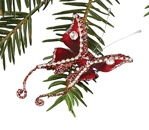 Sage & Co. XAO14137RD Ornament Beaded Butterfly Clip-on Ornament