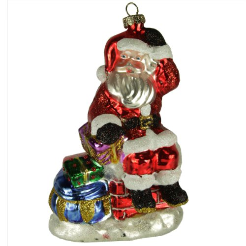 5″ Sparkle Bright by Radko Santa Sitting on Chimney Glass Christmas Ornament