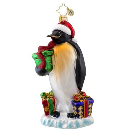 Christopher Radko March of the Gifts Penguin Glass Christmas Ornament 2014