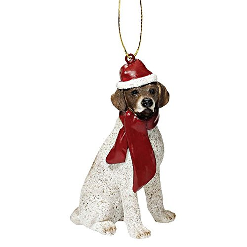 Design Toscano JH576340 Pointer Holiday Dog Ornament Sculpture, Full Color