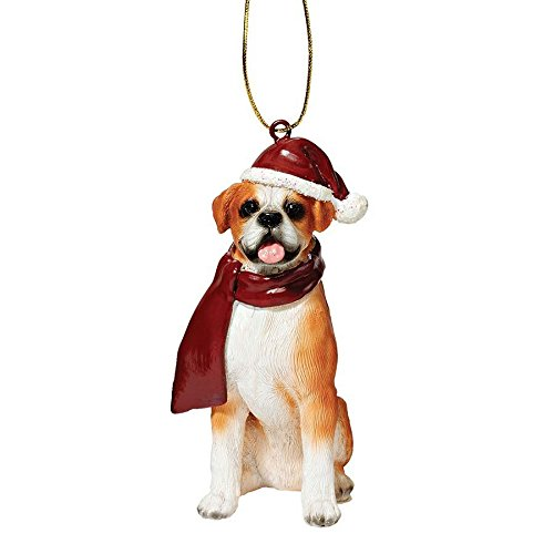 Design Toscano JH576303 Boxer Holiday Dog Ornament Sculpture, Full Color