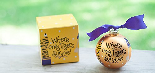 "Coton Colors LSU Crowd Cheer Ornament (Lsu). Go Team, Go! Kick Off the Season with the Cheer-raising Louisiana State University Crowd Cheer Ornament! Designed with Fan-tastic ""Where Only Tigers Survive!"" Writing and Cheering Fan-atics, It's a High-scoring Way to Celebrate Gameday, Holiday or Everyday. All Collegiate Ornaments Come Boxed and Tied with a Coordinating Ribbon Making Them the Perfect Gift for Anyone."