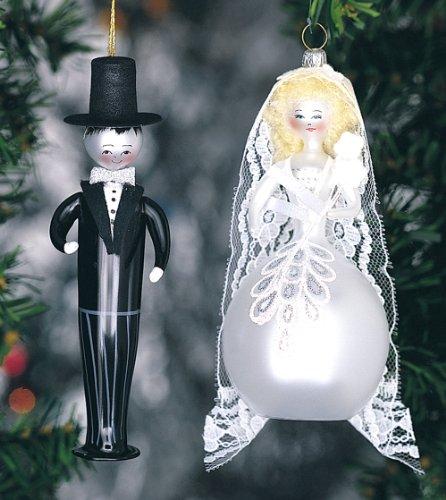 De Carlini Bride and Groom Set of Two Italian Mouthblown Glass Christmas Ornaments