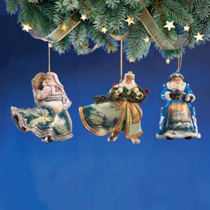 Bradford Exchange Thomas Kinkade Victorian Santas Set of 3 Ornaments