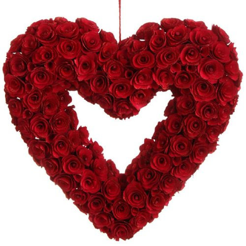 RAZ Imports – 19″ RED Heart Wreath Ornament