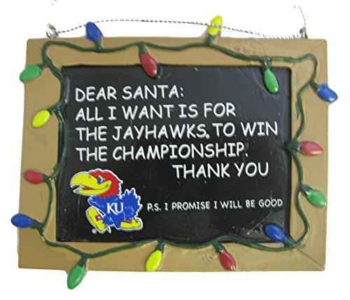 Kansas Jayhawks NCAA College Chalkboard Holiday Christmas Ornament