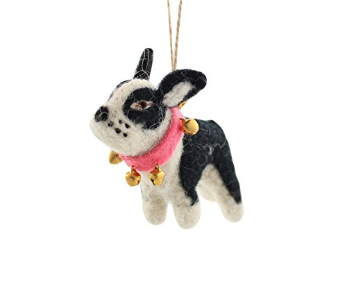 Cody Foster Feastive Felt Dog Shaped Ornament – Black and White Dog with Bell Collar