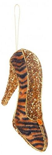 5″ Diva Safari Tiger Print Gold Glitter Embellished Pump High Heel Shoe Christmas Ornament