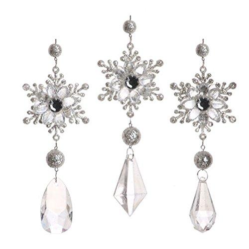 RAZ Imports – Silver Snowflake Drop Ornaments