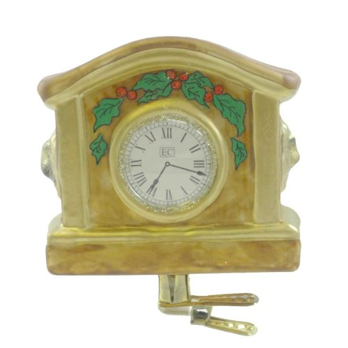 Holiday Ornament MANTEL CLOCK 90041 Clip On Fireplace Timepiece New