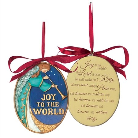 Joy to the World Angel Christmas Tree Ornament with Excerpt From Hymn on Back