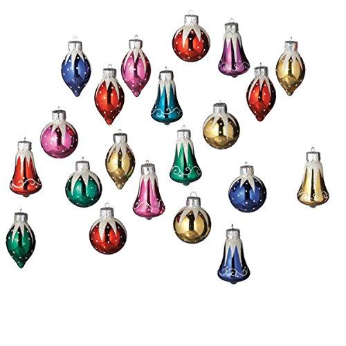 2″ Glass Bells, Balls and Drops Glittered Miniature Christmas Ornament Set