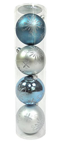 80mm 4piece Plastic Decorative Ball Silver-White-Blue Assortment