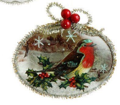 RAZ Imports Glass Bird Disk Ornament, Choice of Styles (robin red breast)