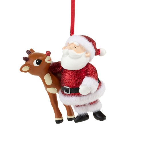 Department 56 Rudolph Glitter Santa and Rudolph Ornament, 3.25-Inch