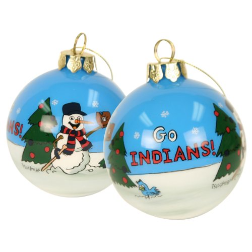 Blown Glass Hand Painted Sports Christmas Ornaments – Cleveland Indians