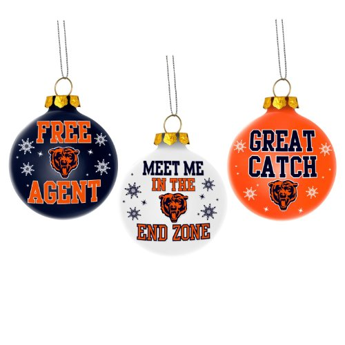 Chicago Bears Nfl 3 Pack Glass Ball Slogan Christmas Ornament Set