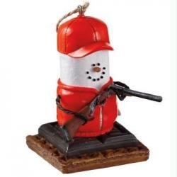 3″ S'mores Blaze Orange Hunting Christmas Ornament with Gun