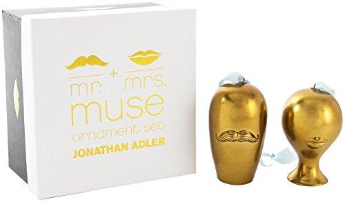 Jonathan Adler Mr. & Mrs. Muse Ornament Set – Gold