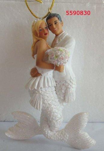 December Diamonds Wedding Couple Bride and Groom Mermaid and Merman Ornament