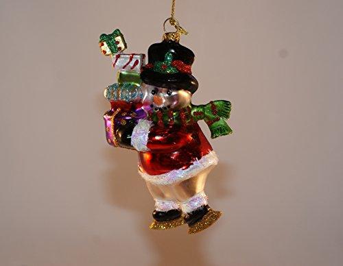 Glass Blown Snowman in Santa Suit Ornament