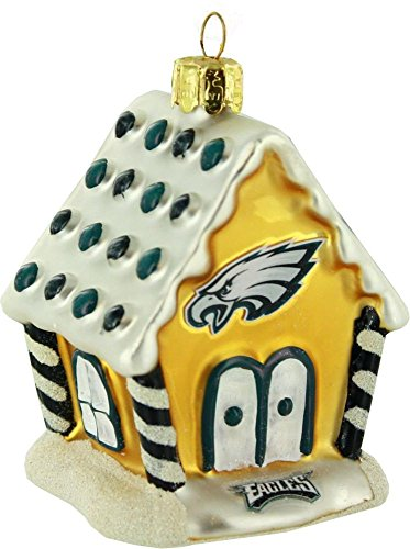 Philadelphia Eagles 3.5″ Blown Glass Gingerbread House Ornament