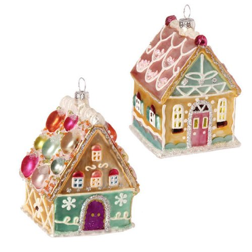 RAZ Imports – GINGERBREAD HOUSE ORNAMENTS – (SET OF 2)