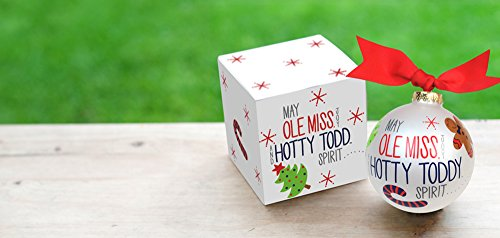 Coton Colors Ole Miss (University of Mississippi) Tailgate Season Ornament. Featuring Iconic Images of Christmas in Red and Navy, Let This Ornament Fill Holidays with Hotty Toddy Joy & Spirit. Perfect for Festive Fans of All Ages Who Love Celebrating College Colors During the Holidays or Every Day. Adorned with Ribbon. Comes Packaged in a Coordinating Gift Box for Perfect Present Presentation.