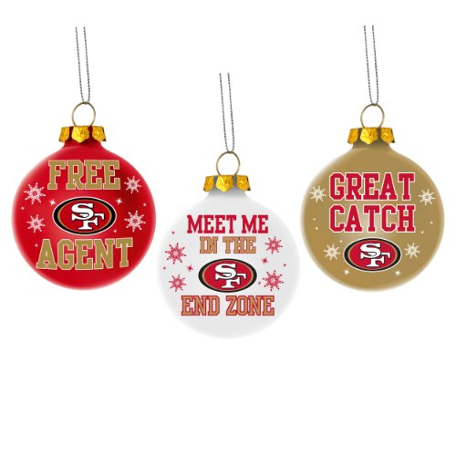 San Francisco 49ers Nfl 3 Pack Glass Ball Slogan Christmas Ornament Set