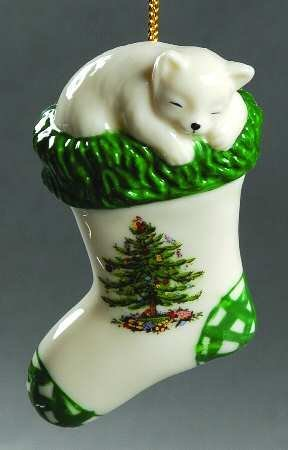 Spode Christmas Tree Kitten in a Stocking Ornament