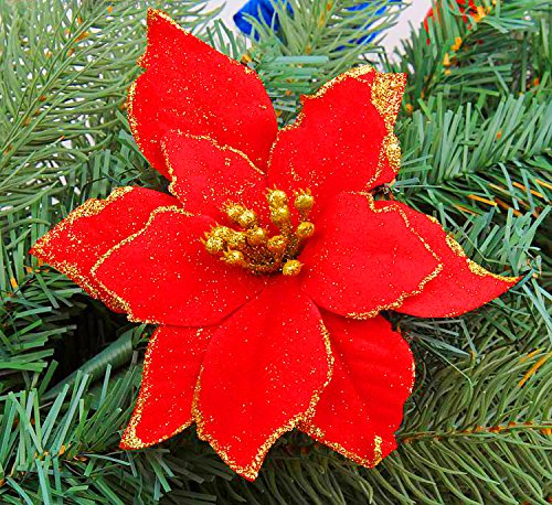 6Pcs 5 Inch Glitter Artificial Christmas Flowers XMAS Tree Wreaths Decor Ornament Red