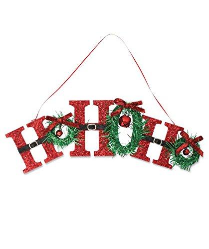 Bethany Lowe Glitter Santa Suit Ho Ho Ho Hanging Sign