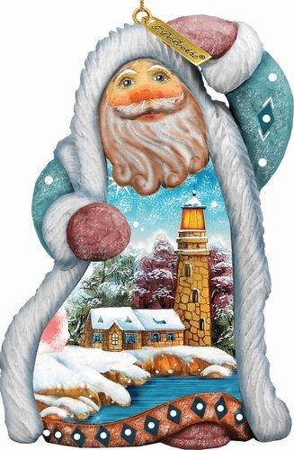 G. Debrekht 661511 General Holiday Santa Lighthouse Ornament 5 inch