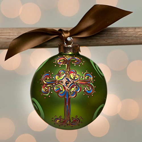 Green Curly Cross Glass Ball Ornament