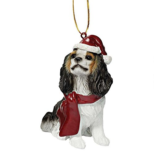 Design Toscano JH576321 Charles Cavalier Holiday Dog Ornament Sculpture, Full Color
