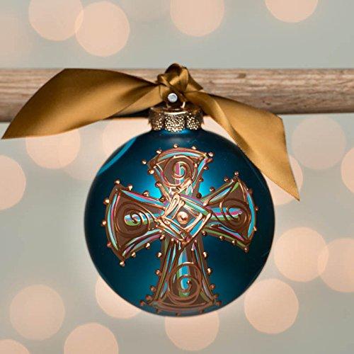 Blue Bold Cross Glass Ball Ornament