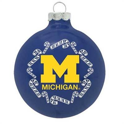Michigan Wolverines NCAA Candy Cane Traditional Glass Ball Christmas Ornament- 2 3/4″