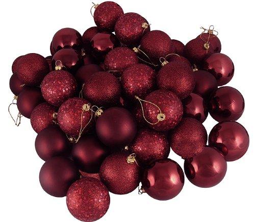 60ct Burgundy Shatterproof 4-Finish Christmas Ball Ornaments 2.5″ (60mm)