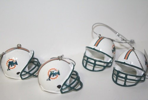 Miami Dolphins NFL Mini Helmet Ornaments 4 Pack