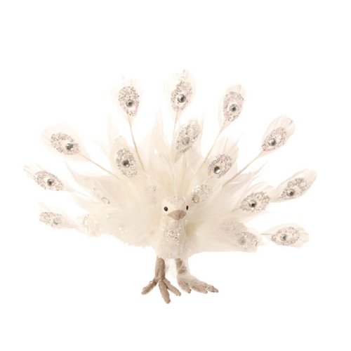 RAZ Imports – White Feathered Peacock 8″ Christmas Ornament