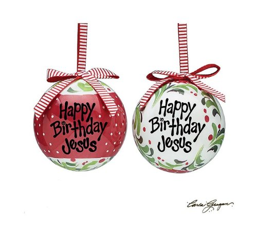 Happy Birthday Jesus Christmas Ornaments 3″ – Holiday Ornament Set of 2