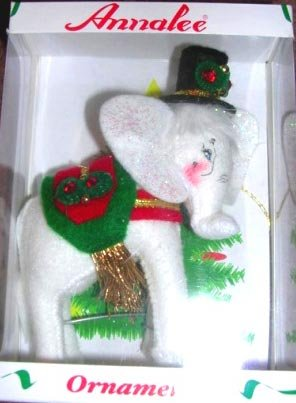 Annalee White Elephant Christmas Ornament