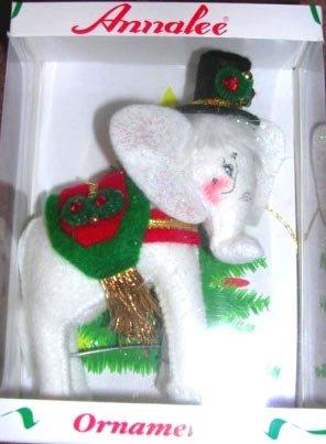 Annalee White Elephant Christmas Ornament