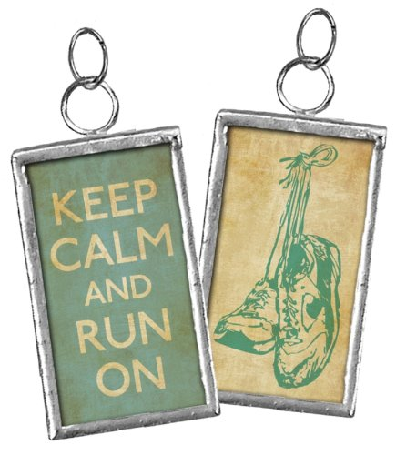 Primitives By Kathy KEEP CALM AND RUN ON double-sided charm