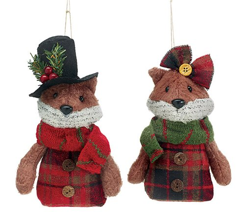 Fox Boy and Girl Christmas Ornaments – Holiday Ornament 2 Pack